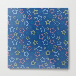 Multicolor stars silhouettes with dotted border over blue Metal Print