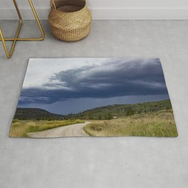 Thunderstorm Rolling over the Colorado Rocky Mountains Rug