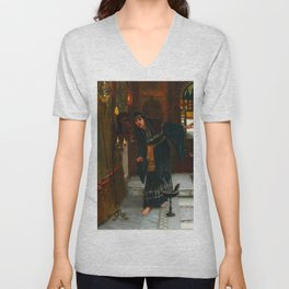 """John William Waterhouse """"Consulting the Oracle"""" Unisex V-Neck"""