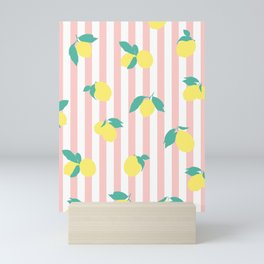 Lemon stripe print Mini Art Print