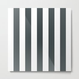 Outer space (Crayola) grey - solid color - white vertical lines pattern Metal Print