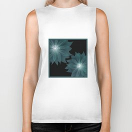 Blue flower on a black background . Biker Tank