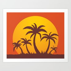 Palm Trees And Summer Sunset Art Print