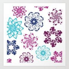 Batik Flowers Art Print