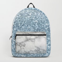 She Sparkles - Turquoise Teal Glitter Marble Backpack