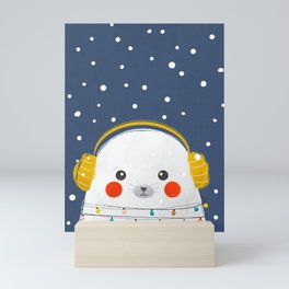Christmas Baby Seal with fairy lights Mini Art Print