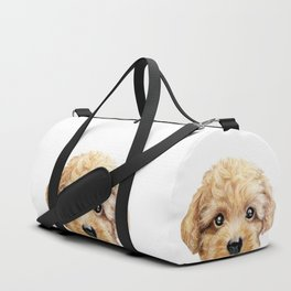 Toy poodle Dog illustration original painting print Duffle Bag