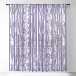 Cable Stripe Violet Sheer Curtain