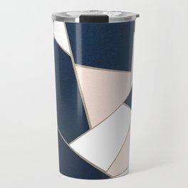 Navy Blue Blush White Gold Geometric Glam #1 #geo #decor #art #society6 Travel Mug