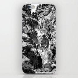 waterfall rope bridge kaunertal alps tyrol austria europe black white 1 iPhone Skin