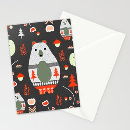 Christmas bears and birds Stationery Cards