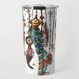 Feathers and crystals in aztec style Travel Mug