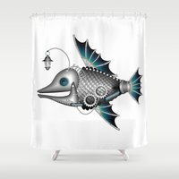 steam punk Shower Curtains featuring steam punk fish by Elena Trupak