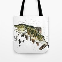 trout Tote Bags featuring Lake Trout by Mt Zion Press