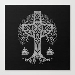 Tree of life  -Yggdrasil  and Celtic Cross Canvas Print