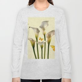 Ivory Calla Lilies Yellow Butterflies Long Sleeve T-shirt