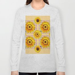 CREAM COLOR WESTERN STYLE YELLOW SUNFLOWERS Long Sleeve T-shirt