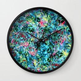Abstract Floral Chaos Wall Clock