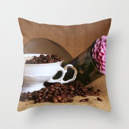 Flower Coffee Throw Pillow
