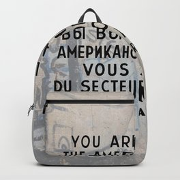 Checkpoint Charlie Signage, Berlin Wall Backpack