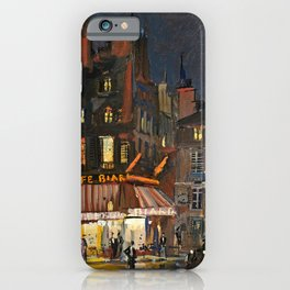 Paris, Cafes in Rue Lepic, Montmartre night landscape painting by Konstantin Korovin  iPhone Case