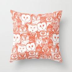just owls flame orange Throw Pillow