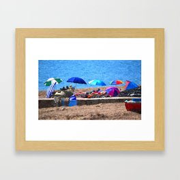 HOLIDAZE - Sunshades and Parasols on Sandy Beach Framed Art Print