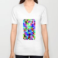 computer V-neck T-shirts featuring Hello Computer by NatalieCatLee