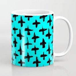 Aqua Blue and Black plus signs brush strokes seamless pattern Coffee Mug