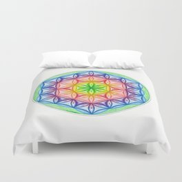 Flower of Life & the Seven Colours - The Rainbow Tribe Collection Duvet Cover