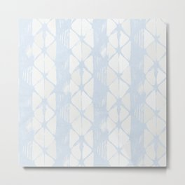 Simply Braided Chevron Sky Blue on Lunar Gray Metal Print