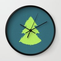 christmas tree Wall Clocks featuring (Christmas) Tree by Mr & Mrs Quirynen