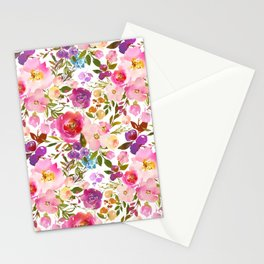 Modern pink teal green hand painted leaves floral Stationery Cards