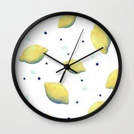 Lemons and dots Wall Clock