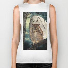Great Horned Owl Bird Moon Tree A138 Biker Tank