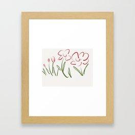 Red Flowers , Red Flower Bursts Framed Art Print