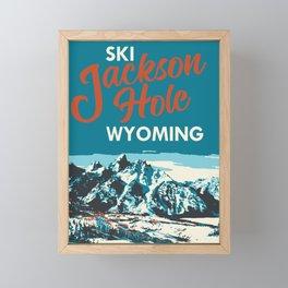 Ski Jackson Hole Wyoming Vintage Ski Poster Framed Mini Art Print