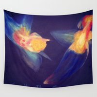 angels Wall Tapestries featuring Angels by Art Pilar Martin