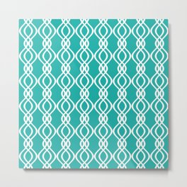 Teal and white curved lines Metal Print
