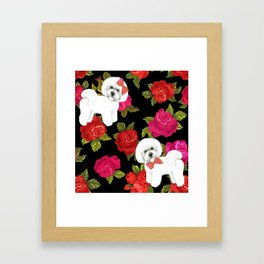 Bichon Frise gift, pink red floral , Bichon christmas gift, pet friendly dog breed gifts Framed Art Print