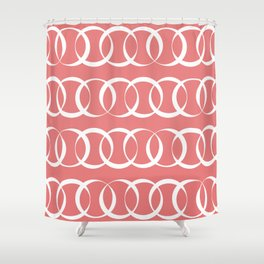 Living coral and white elegant intersecting circles pattern Shower Curtain