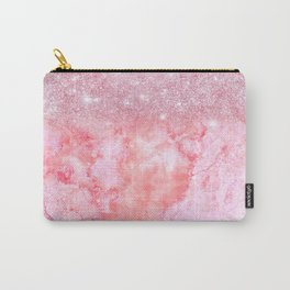 Sparkly Pink Rosegold Glitter Blush Marble Carry-All Pouch