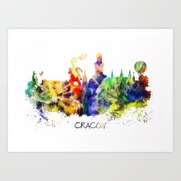 Cracow skyline color Art Print