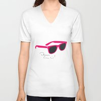 darren criss V-neck T-shirts featuring Darren Criss Glasses by byebyesally