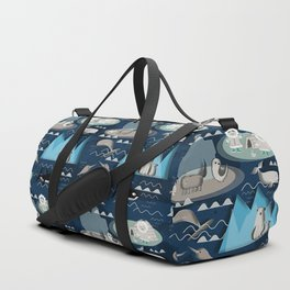 Arctic animals blue Duffle Bag