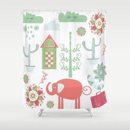 Travel pattern 4v Shower Curtain