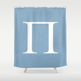 Greek letter Pi sign on placid blue background Shower Curtain