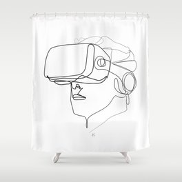 """""""Gaming Collection """" - Man Wearing Virtual Reality Goggles Shower Curtain"""
