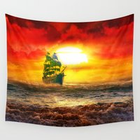 pirate ship Wall Tapestries featuring Black Pearl Pirate Ship by Electra