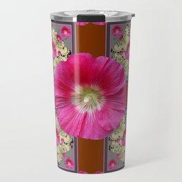 COFFEE BROWN CERISE HOLLYHOCKS BUTTERFLY DESIGN Travel Mug